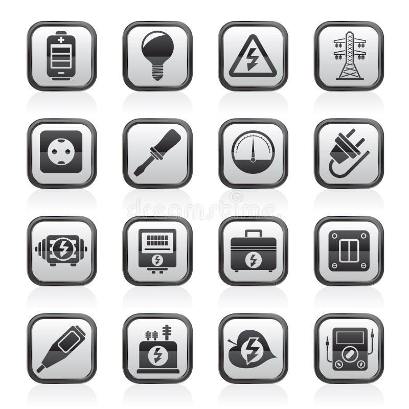 Iconos blancos y negros de la electricidad, del poder y de la energía ilustración del vector