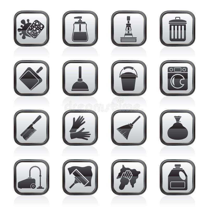 Iconos blancos y negros de la limpieza y de la higiene stock de ilustración