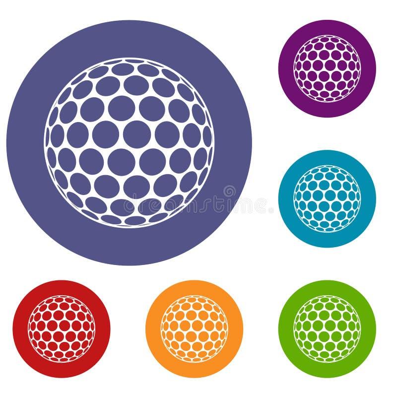 Iconos blancos y negros de la pelota de golf fijados ilustración del vector