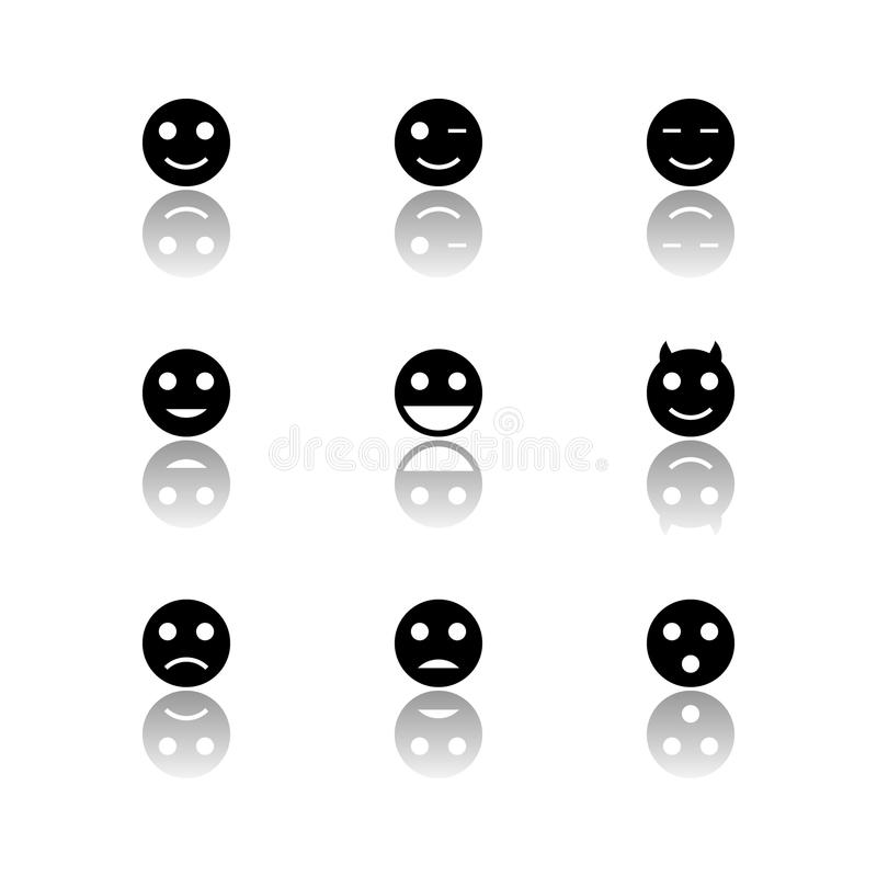 Iconos blancos y negros de las sonrisas fijados imagen de archivo libre de regalías