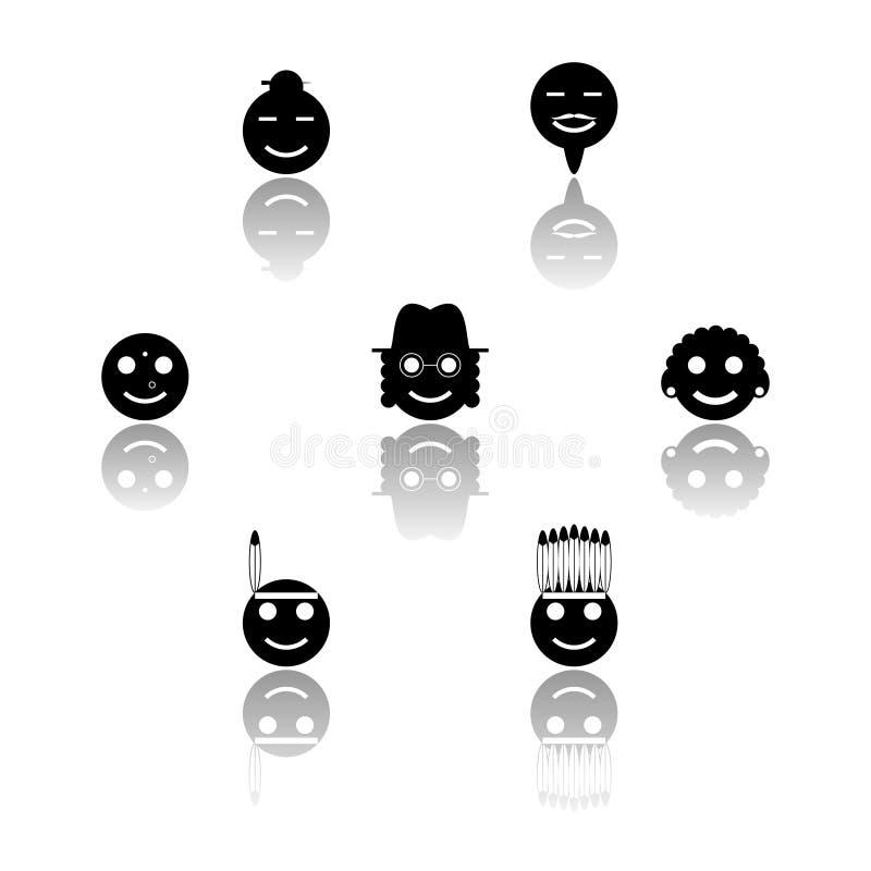 Iconos blancos y negros de las sonrisas fijados fotografía de archivo libre de regalías