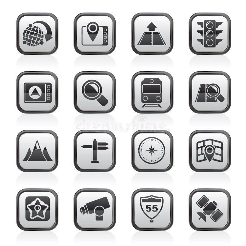 Iconos blancos y negros del mapa, de la navegación y de la ubicación stock de ilustración