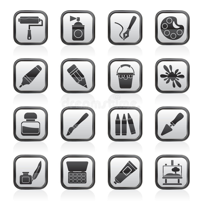 Iconos blancos y negros del objeto de la pintura y del arte libre illustration