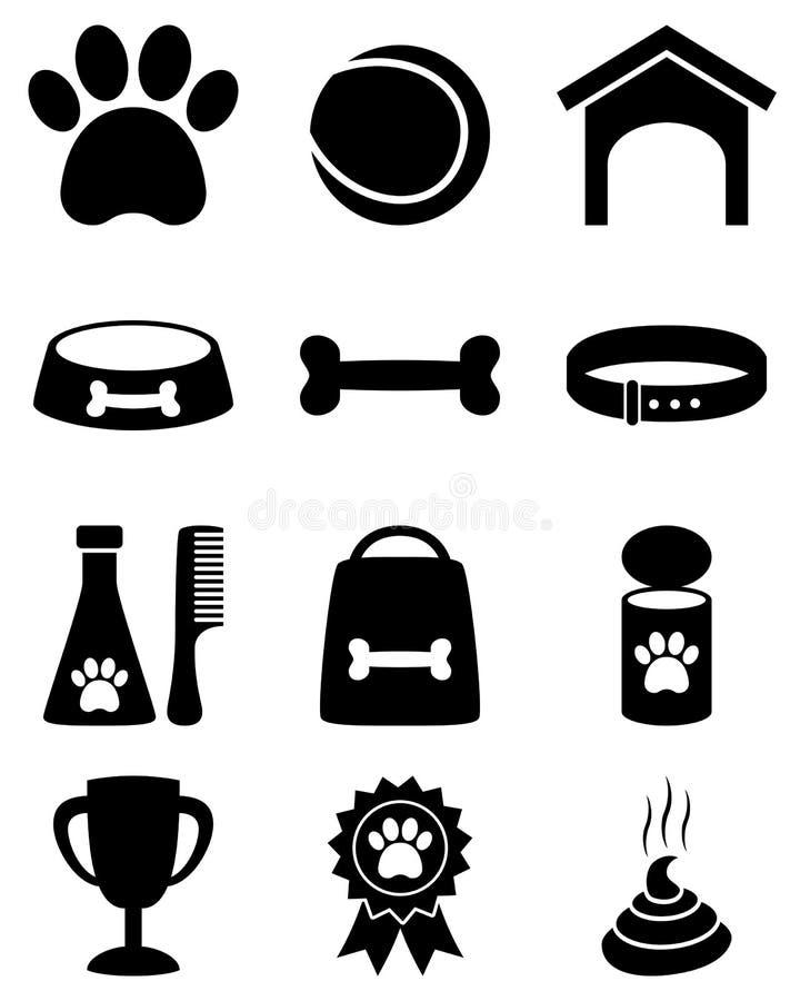 Iconos blancos y negros del perro