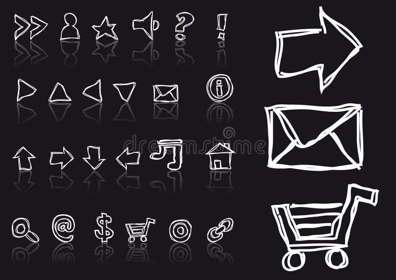 Iconos bosquejados del Web stock de ilustración