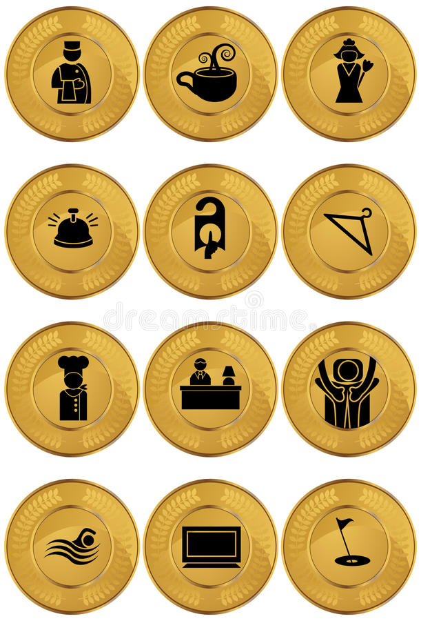 Iconos/botones del hotel - redondos - oro ilustración del vector