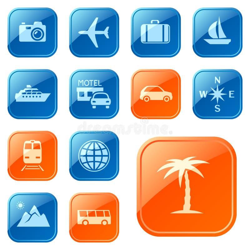 Iconos/botones del recorrido ilustración del vector