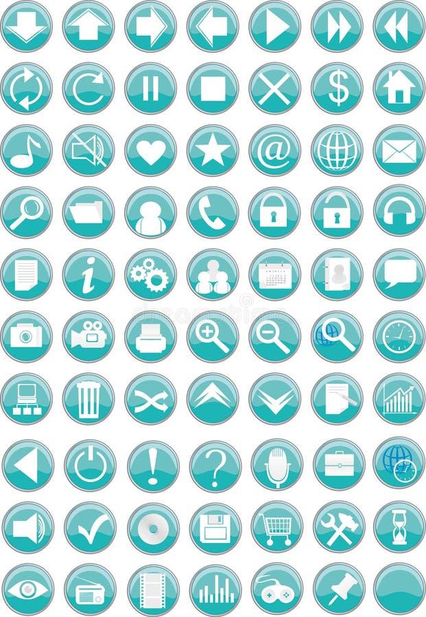 Iconos/botones redondos del Web ilustración del vector