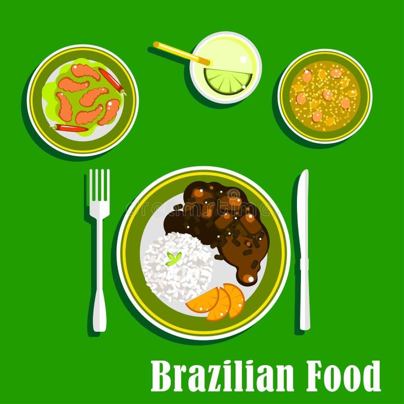 Iconos brasileños de la cocina con los platos nacionales libre illustration