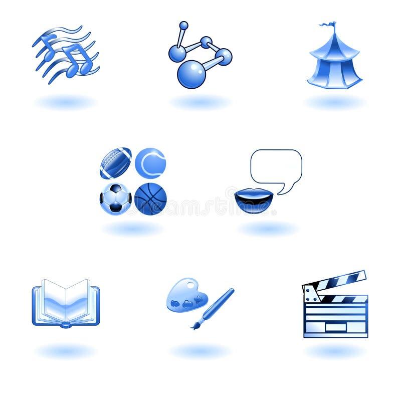 Iconos brillantes azules del Web de la educación de la categoría stock de ilustración