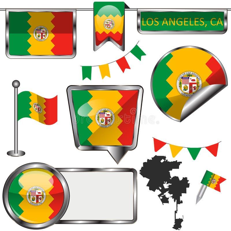 Iconos brillantes con la bandera de Los Angeles, CA stock de ilustración