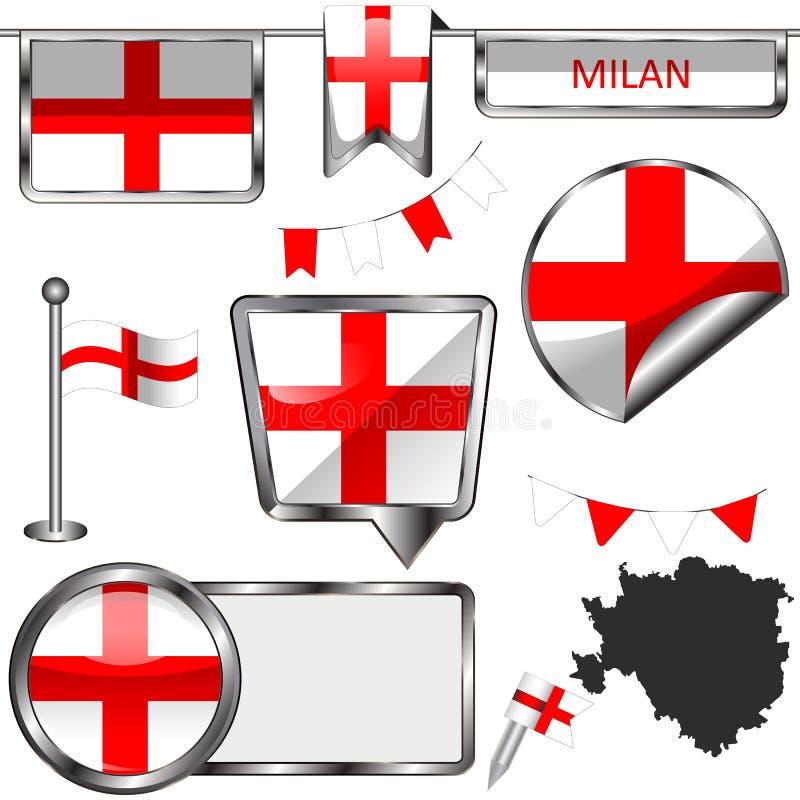 Iconos brillantes con la bandera de Milán ilustración del vector