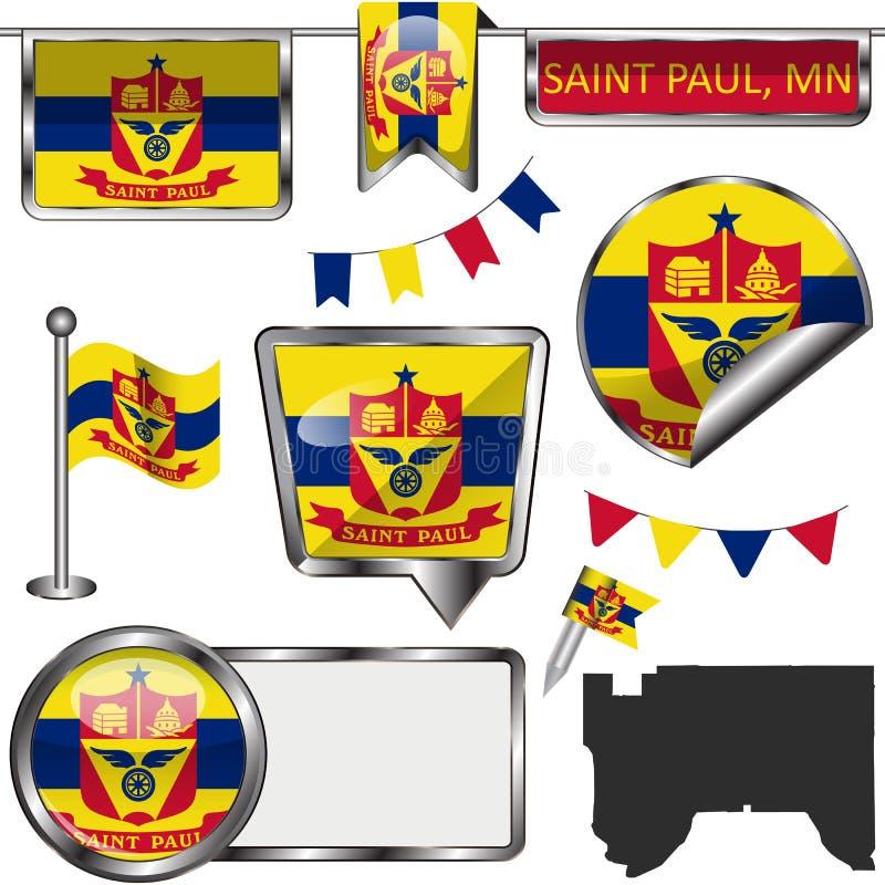 Iconos brillantes con la bandera de Saint Paul, manganeso ilustración del vector