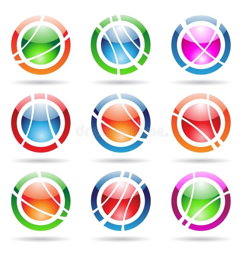 Iconos brillantes de la órbita stock de ilustración