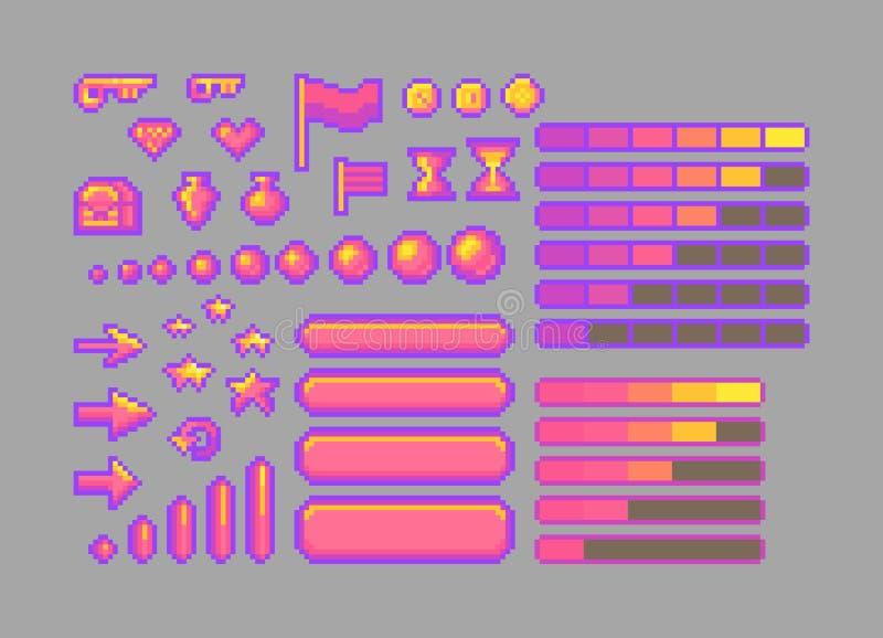 Iconos brillantes del arte del pixel Elementos decorativos del GUI ilustración del vector
