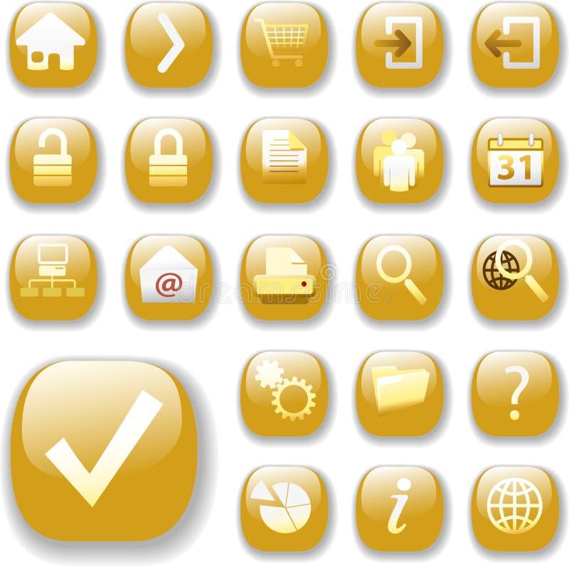 Iconos brillantes del botón del oro del Web stock de ilustración