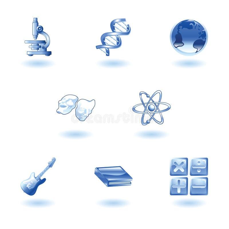 Iconos brillantes del Web de la educación de la categoría ilustración del vector