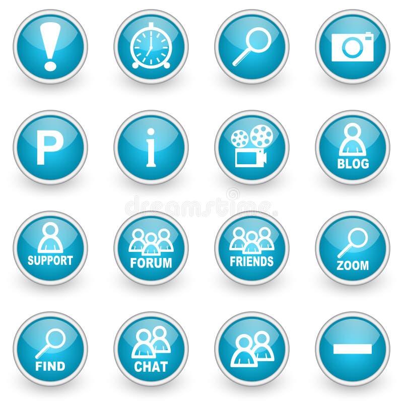 Iconos brillantes del web del círculo fijados stock de ilustración