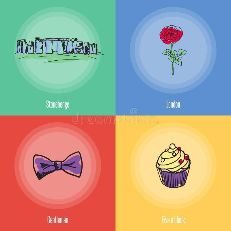 Iconos británicos del vector de los símbolos nacionales fijados stock de ilustración