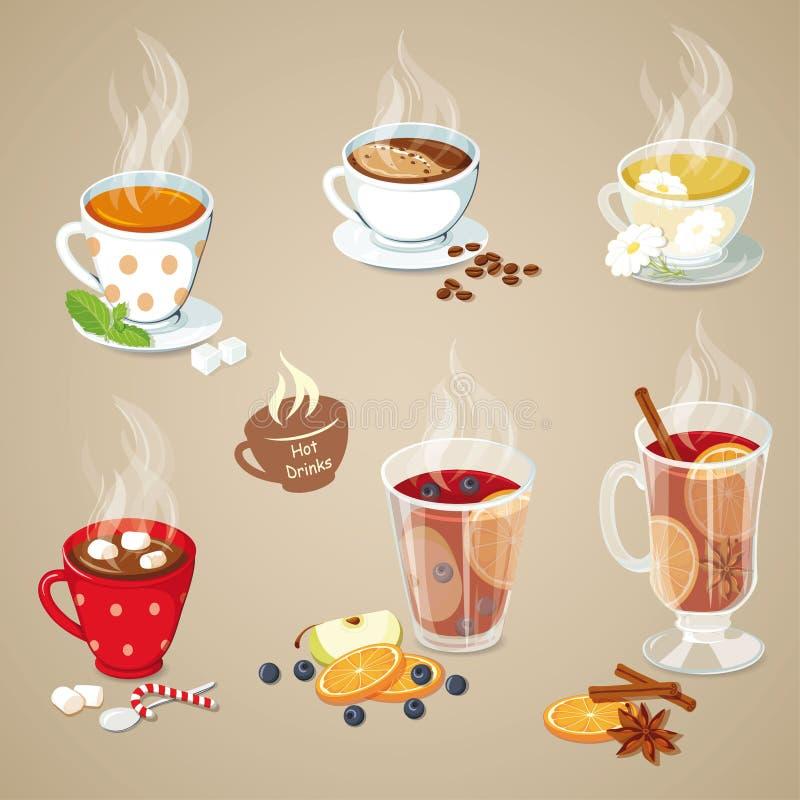 Iconos calientes de las bebidas fijados ilustración del vector
