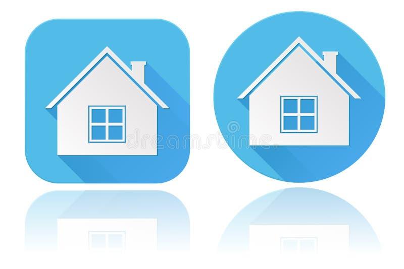 Iconos caseros Alrededor de y muestras azules cuadradas del web ilustración del vector