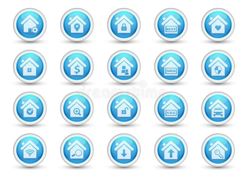 Iconos caseros de los bienes inmuebles del botón stock de ilustración