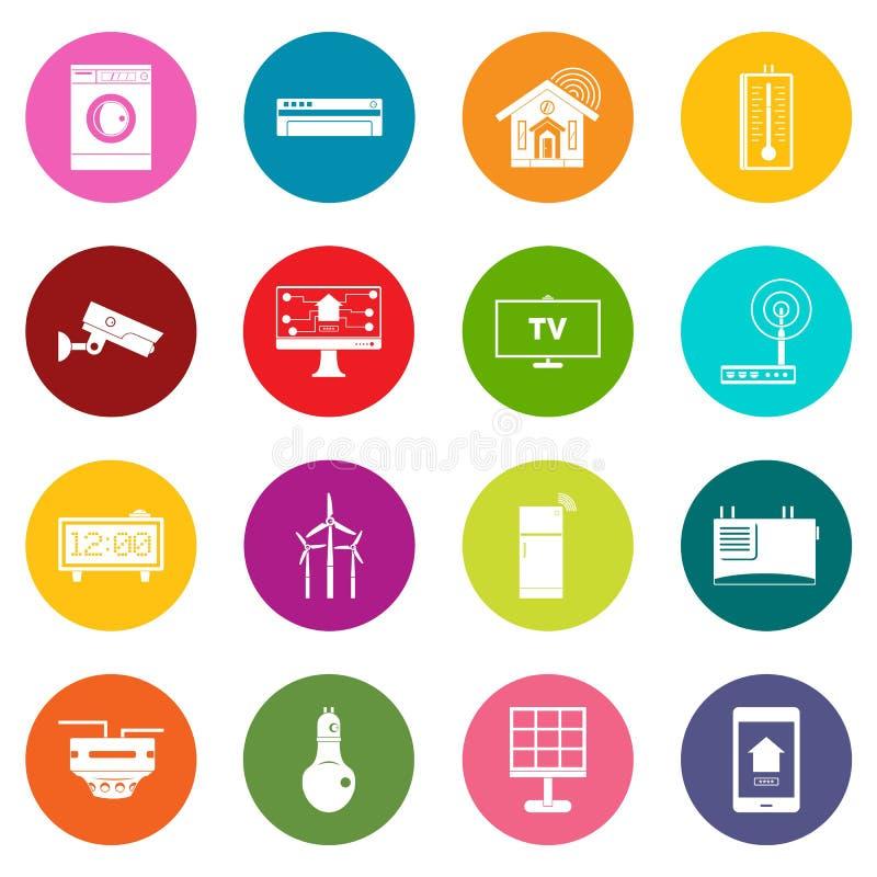 Iconos caseros elegantes de la casa sistema de muchos colores libre illustration