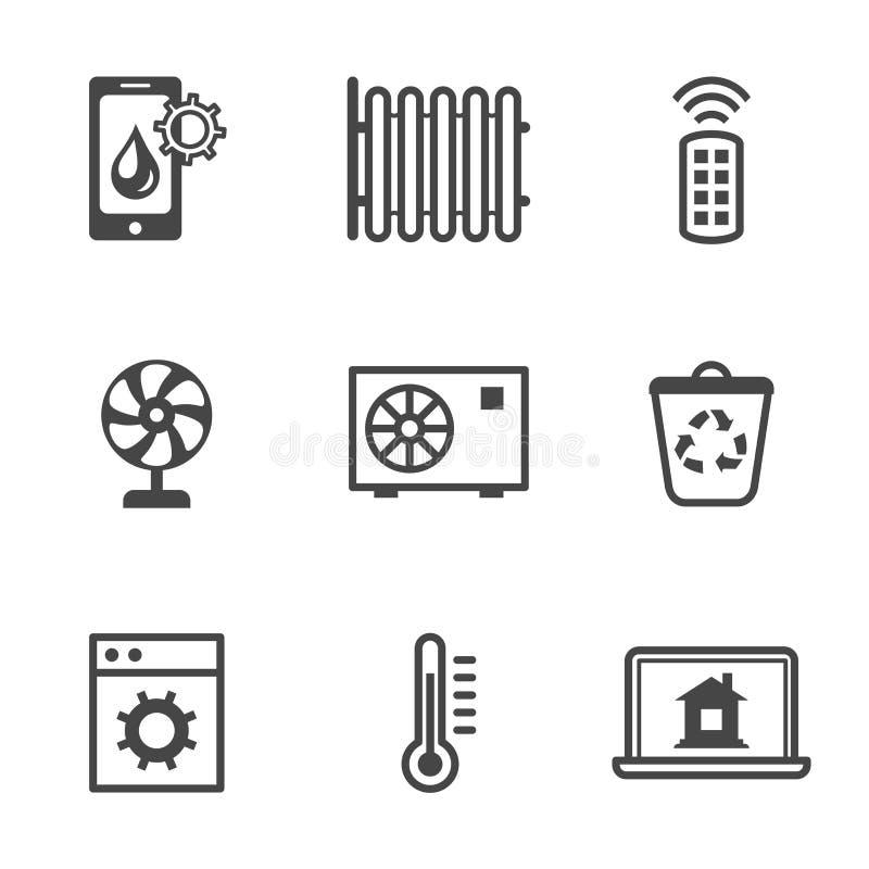 Iconos caseros elegantes del control de seguridad de las utilidades ilustración del vector