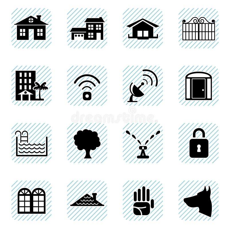 Iconos caseros fijados stock de ilustración