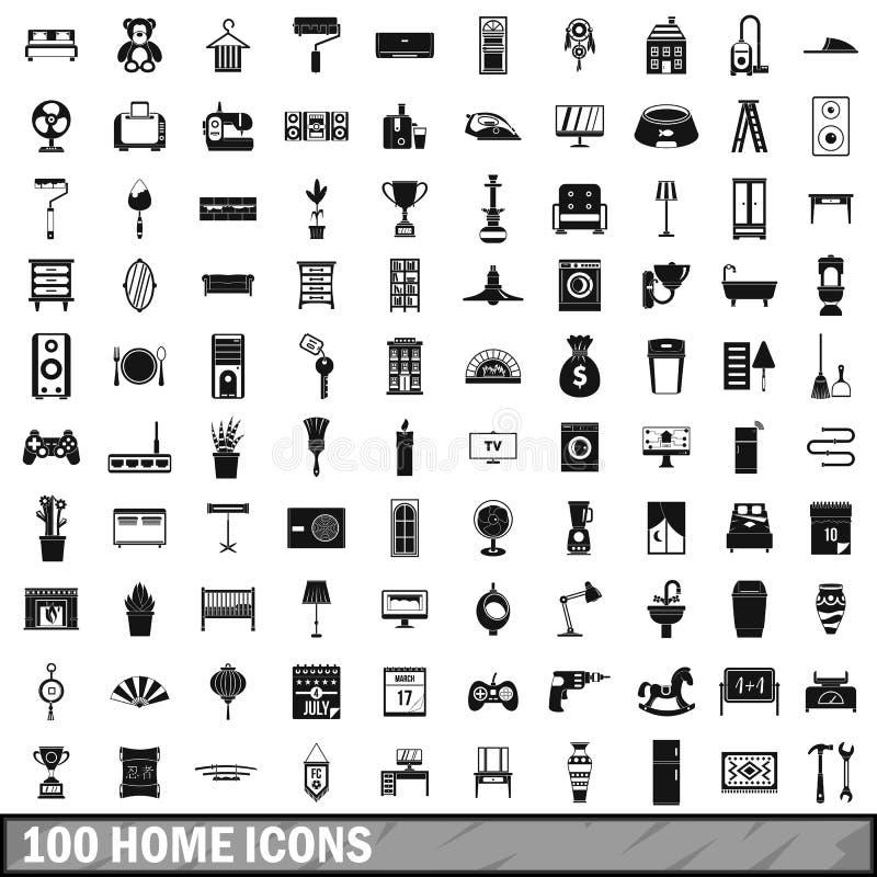 100 iconos caseros fijados, estilo simple libre illustration