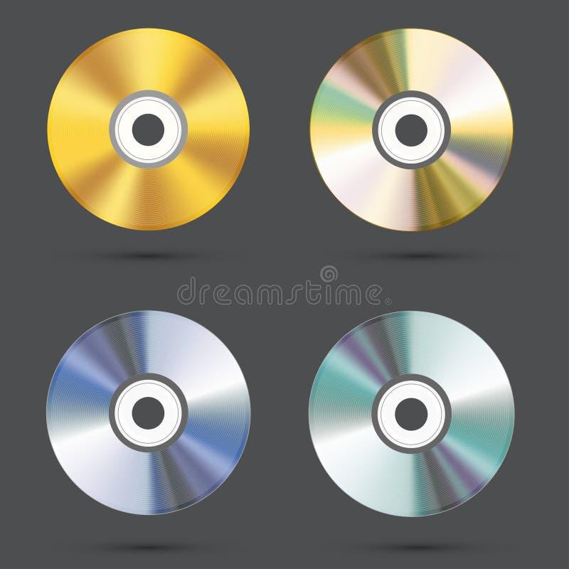 Iconos cd modernos del vector fijados stock de ilustración
