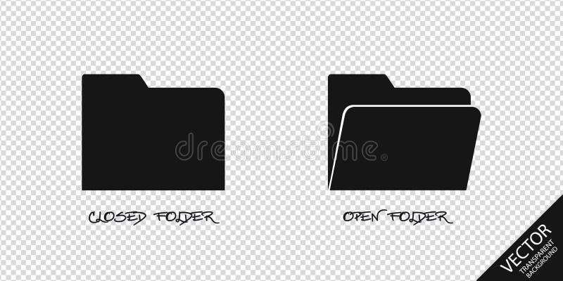 Iconos cerrados y abiertos de la carpeta - ejemplo del vector - aislados en fondo transparente libre illustration
