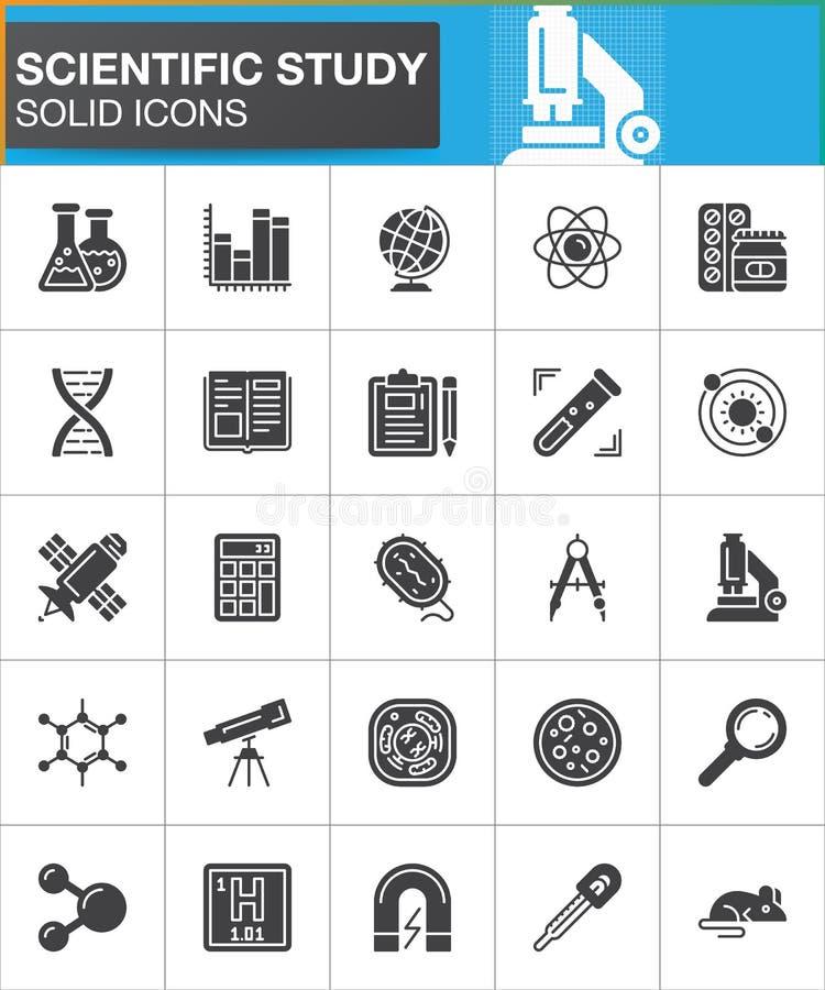 Iconos científicos fijados, colección sólida moderna del símbolo, paquete llenado del vector del estudio del pictograma del estil ilustración del vector
