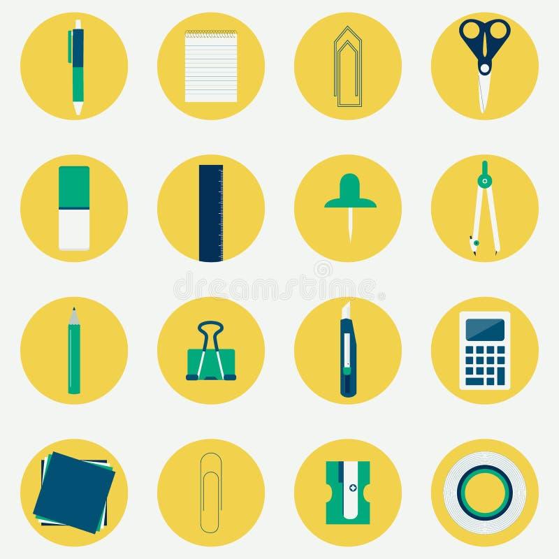 Iconos circulares coloridos de materiales de oficina libre illustration