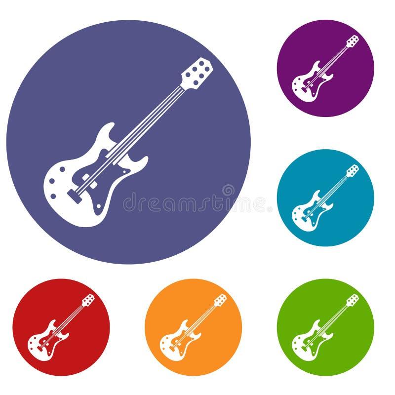 Iconos clásicos de la guitarra eléctrica fijados ilustración del vector