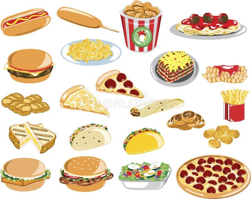 Iconos clasificados de los alimentos de preparación rápida ilustración del vector