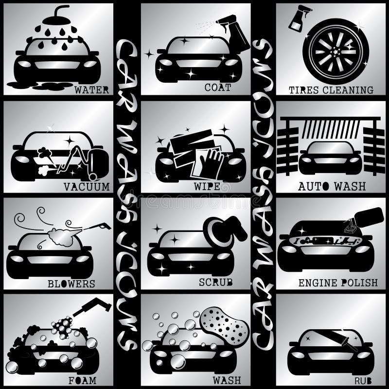Iconos color plata del carwash stock de ilustración