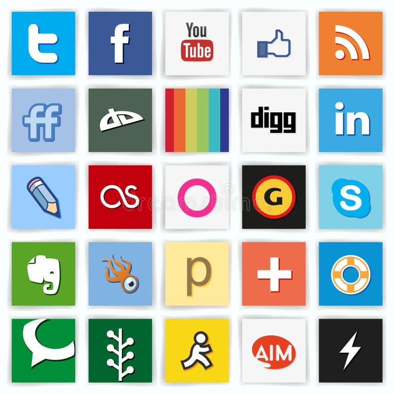 Iconos coloreados completamente multi sociales de la red imágenes de archivo libres de regalías