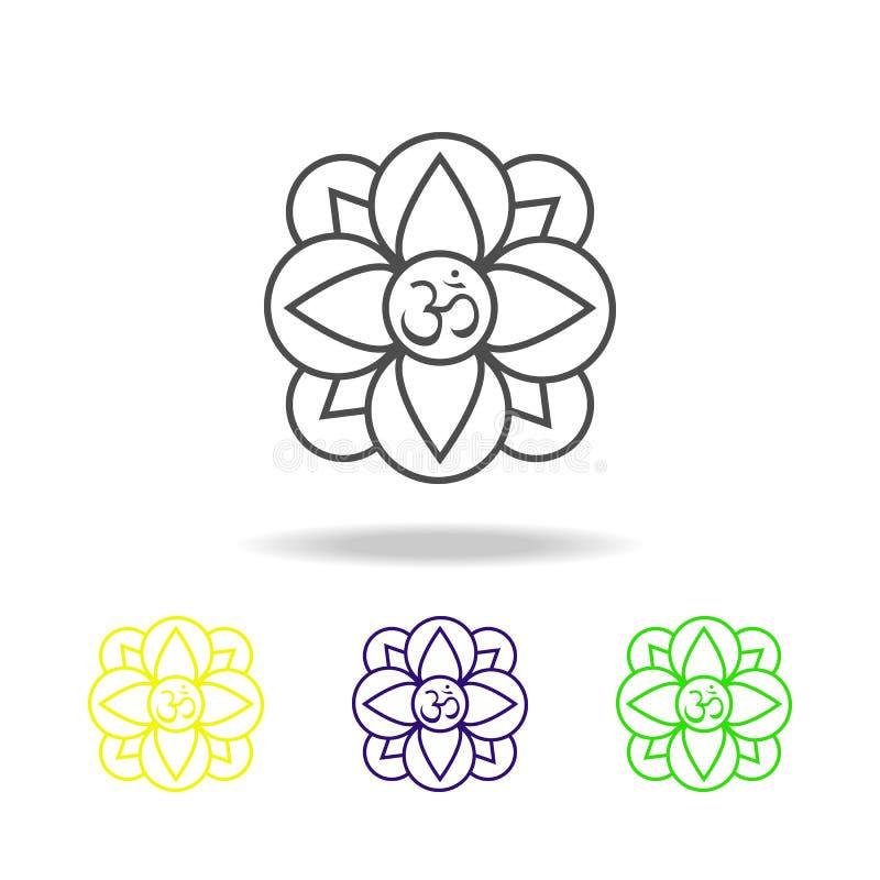 Iconos coloreados creencia de la religión del hinduism de la planta de la flor de Diwali en el fondo blanco Elementos indios de l ilustración del vector