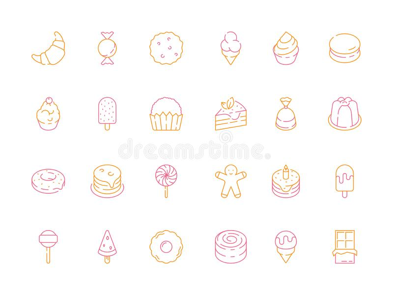 Iconos coloreados del postre Símbolos deliciosos del vector del helado de la jalea de la comida del tiramisu del caramelo de las  ilustración del vector