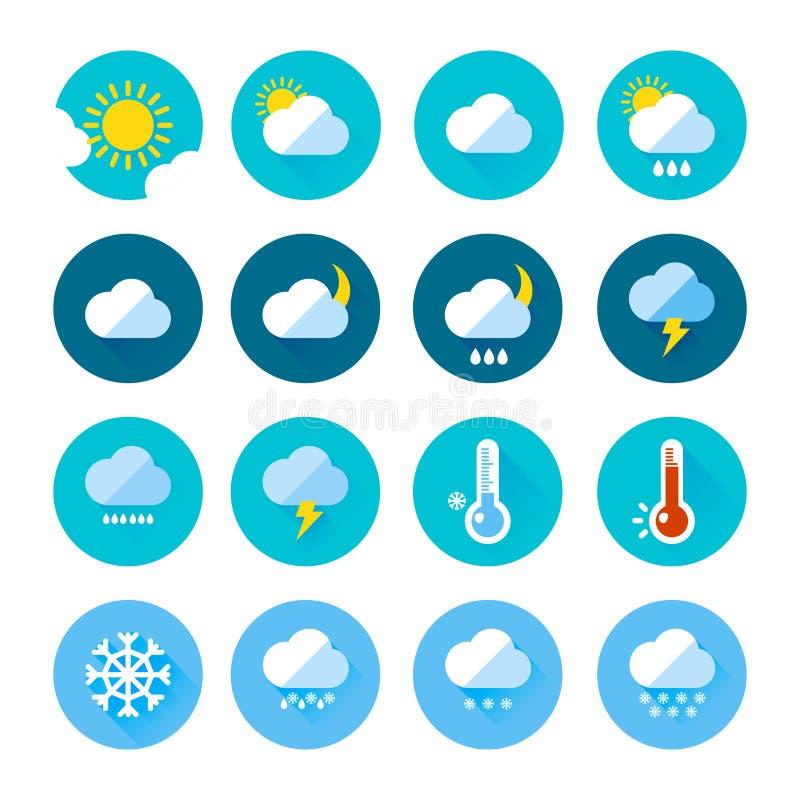 Iconos coloreados del tiempo en estilo plano Diversa visualización del clima Lluvioso y días soleados stock de ilustración