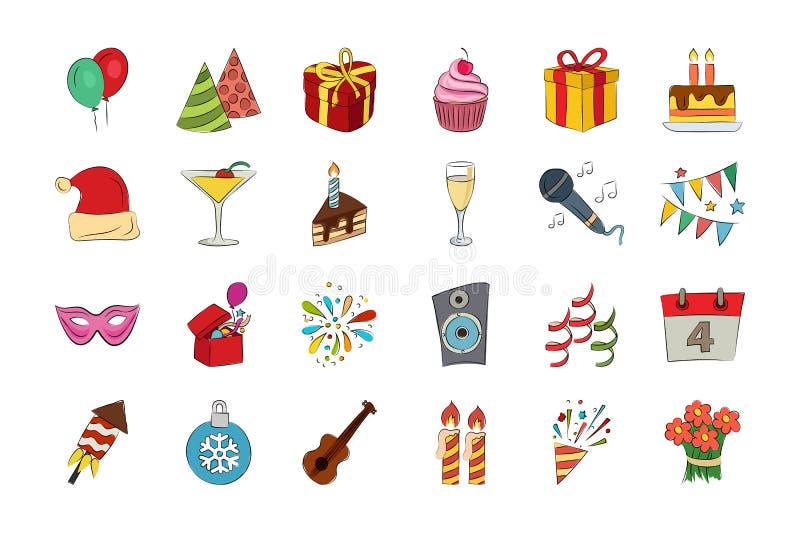 Iconos coloreados dibujados mano 1 del vector de la celebración stock de ilustración