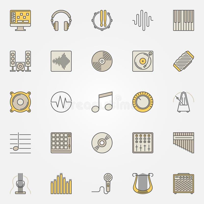 Iconos coloreados música del vector o símbolos creativos ilustración del vector