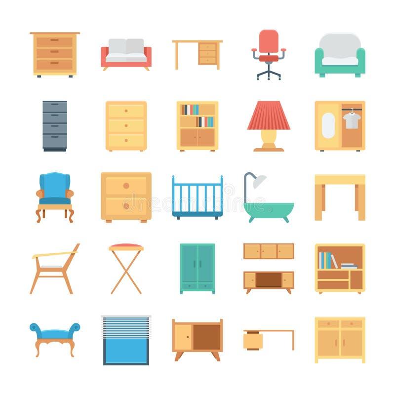 Iconos coloreados muebles 1 del vector ilustración del vector