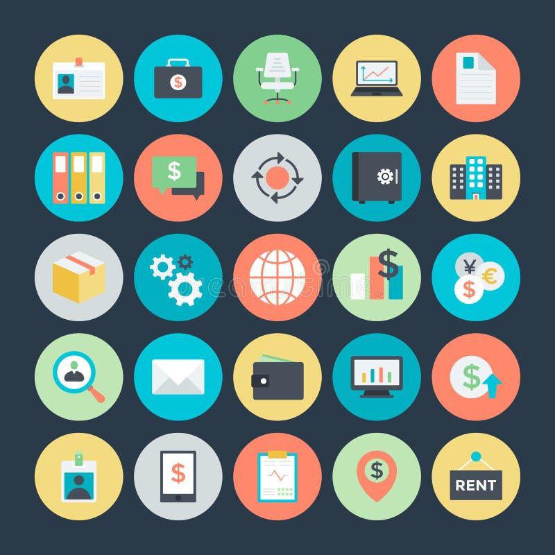 Iconos coloreados negocio 4 del vector ilustración del vector
