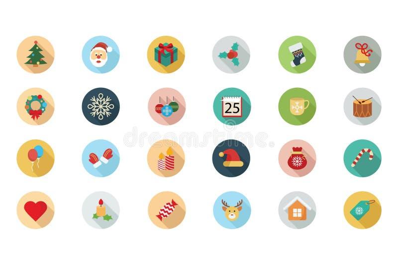 Iconos coloreados plano 1 de la Navidad ilustración del vector