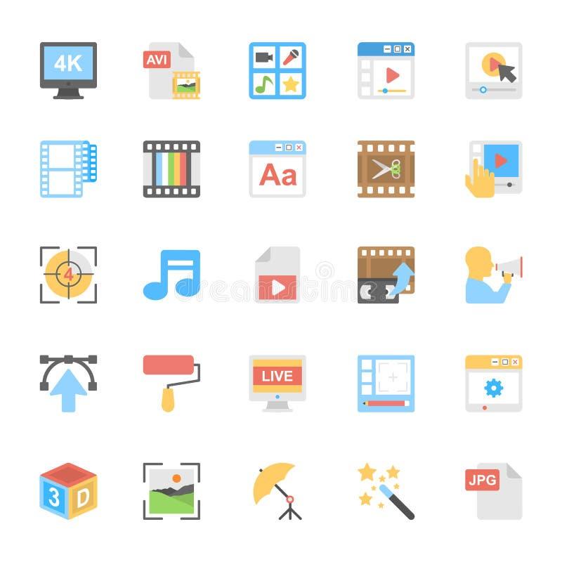Iconos coloreados plano 8 de las multimedias libre illustration