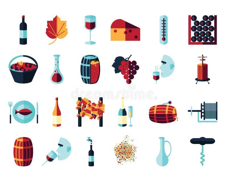 Iconos coloreados plano del vino libre illustration