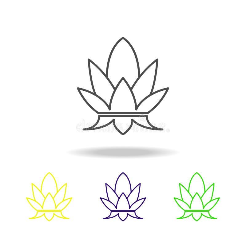Iconos coloreados religiosos hindúes del loto santo de las hojas del mango en el fondo blanco Elementos indios de los días de fie imágenes de archivo libres de regalías