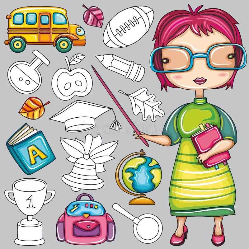 Iconos coloridos 2 de la escuela stock de ilustración
